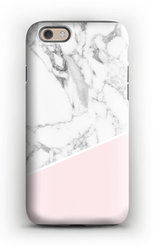 Valkonen marmori ja pinkki kuoret IPhone 6 tough