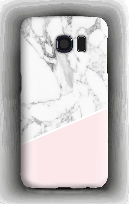 Valkonen marmori ja pinkki kuoret Galaxy S6