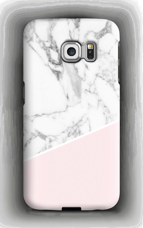 Valkonen marmori ja pinkki kuoret Galaxy S6 Edge
