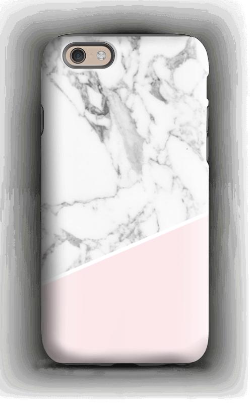 Valkoinen marmori ja pinkki kuoret IPhone 6s tough