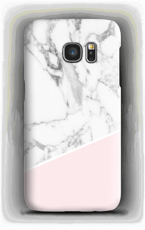 Valkoinen marmori ja pinkki kuoret Galaxy S7