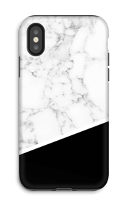 Zwart en Wit Marmer hoesje IPhone X tough