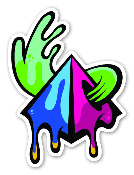 Trippy drippy pyramid sticker