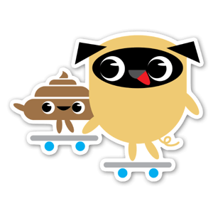 Pug & Poo Skateboarding sticker