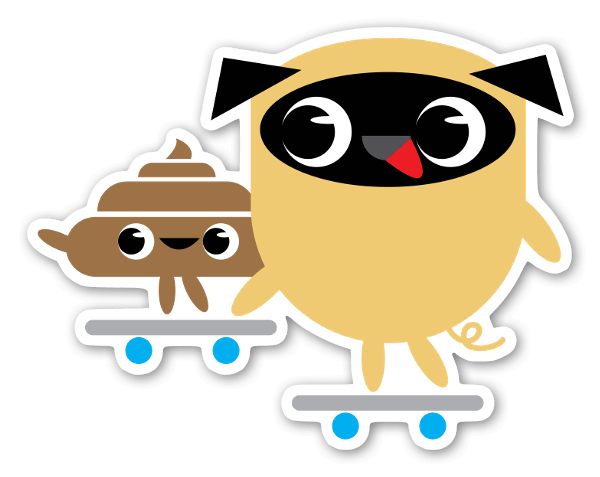 Pug & Poo Skateboarding  sticker