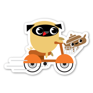 Pug & Poo Scootin' sticker