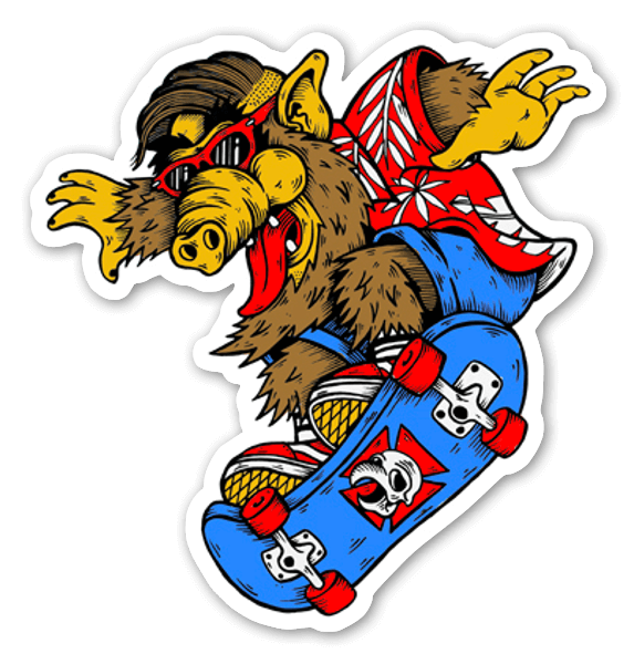Alf skateboarding stickers