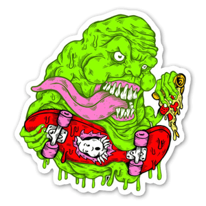 Slimer skater sticker