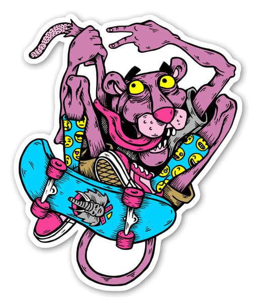 Pink panther skater  sticker