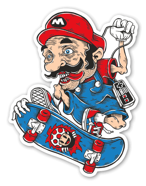 Mario skater sticker