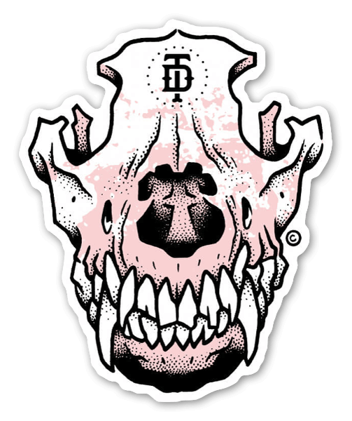Doberman dog skull sticker