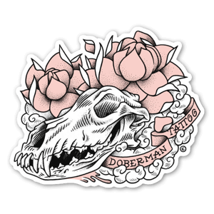 Doberman skull sticker