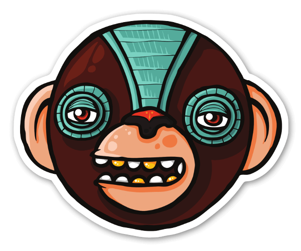 Kwame the monkey clan sticker