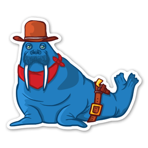 The Blue Walrus - Cowboy sticker