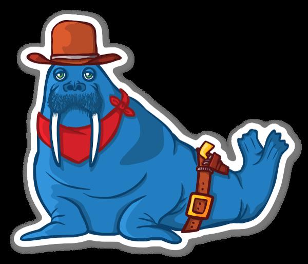 The blue walrus cowboy sticker