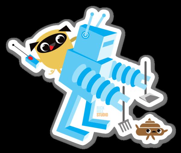 Pug & Poo Robot pegatina