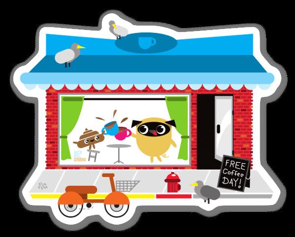 Pug & Poo Café sticker