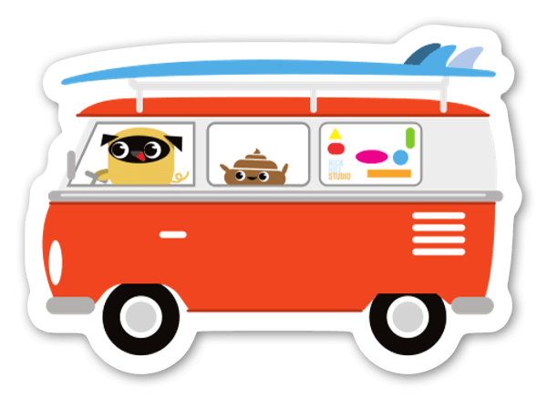 Pug & Poo Surf sticker