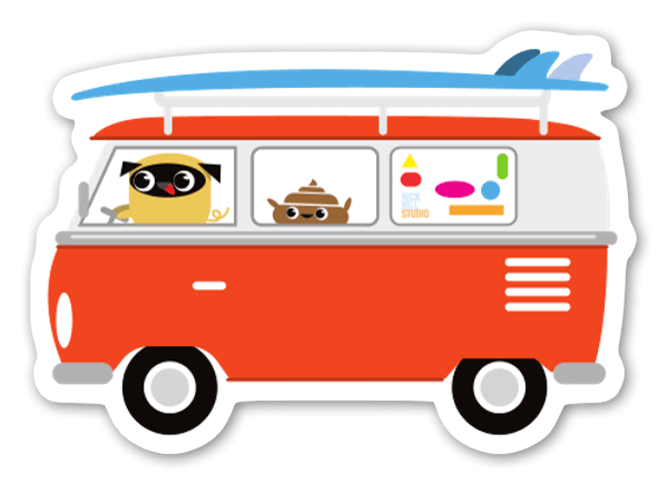 Pug & Poo Surf's Up - Large  sticker