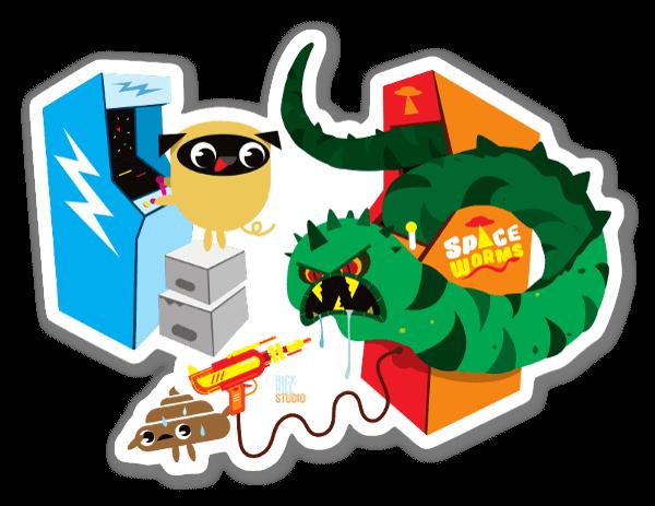 Pug & Poo Jeux Vidéo sticker