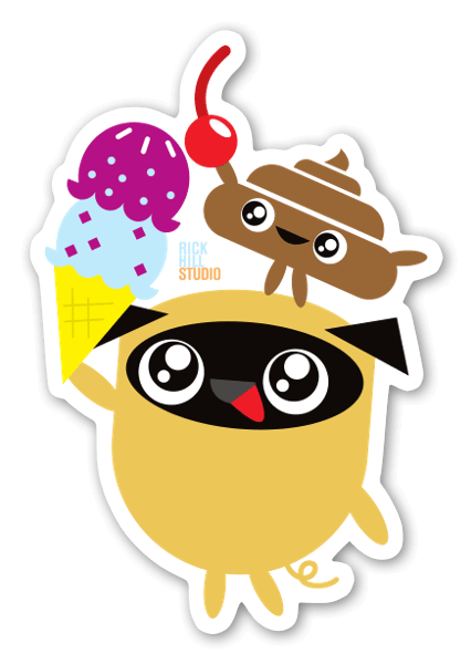 Pug poo ice cream sticker