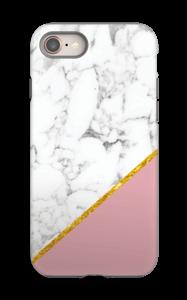 Marmor med gull og pudderrosa deksel IPhone 8 tough