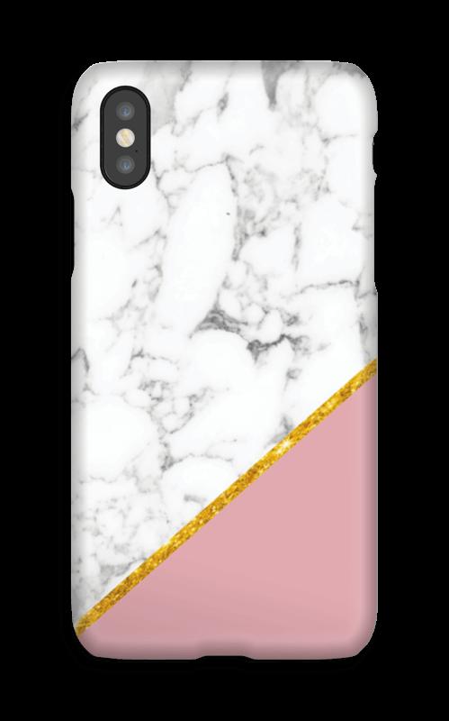 Marmor med gull og pudderrosa deksel IPhone X
