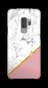 Marmor med gull og pudderrosa deksel Galaxy S9 Plus