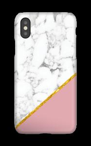 Marmor med gull og pudderrosa deksel IPhone XS