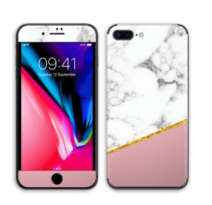 Marmor, pudderrosa og gull Skin IPhone 8 Plus