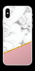 Marmor, pudderrosa og gull Skin IPhone XS