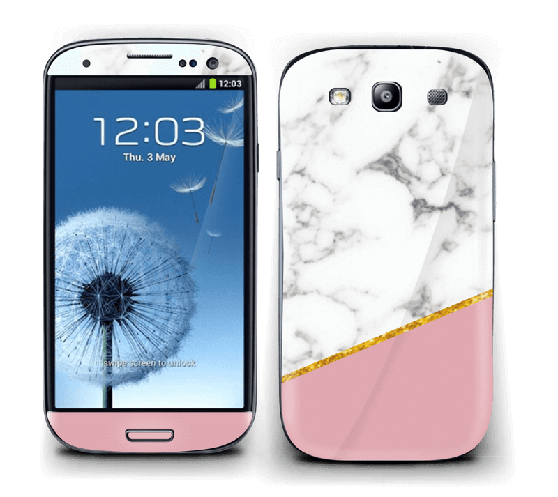 Marmor, pudderrosa og gull Skin Galaxy S3