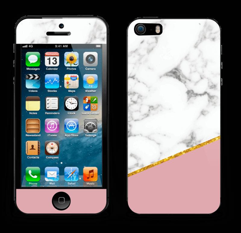 Marmor, pudderrosa og gull Skin IPhone 5s