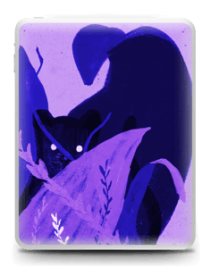 Purple skin with black cat