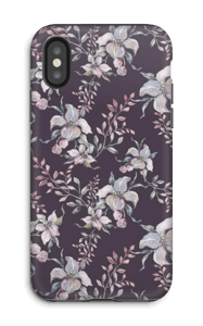 Flowers & purple case IPhone X tough
