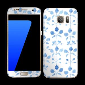 Blå blomster Skin Galaxy S7