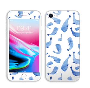 Whales in blue Skin IPhone 8