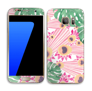 Plantes & plumes roses Skin Galaxy S7