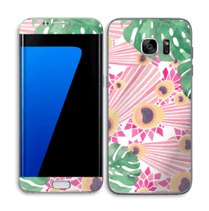 Plantes & plumes roses Skin Galaxy S7 Edge