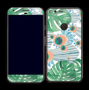 Plantes & plumes bleues Skin Pixel XL