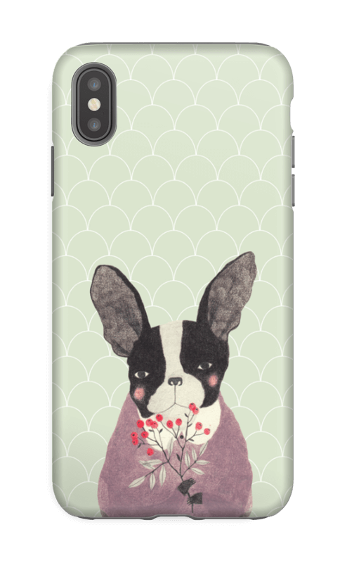 Fransk bulldog skal IPhone XS Max tough