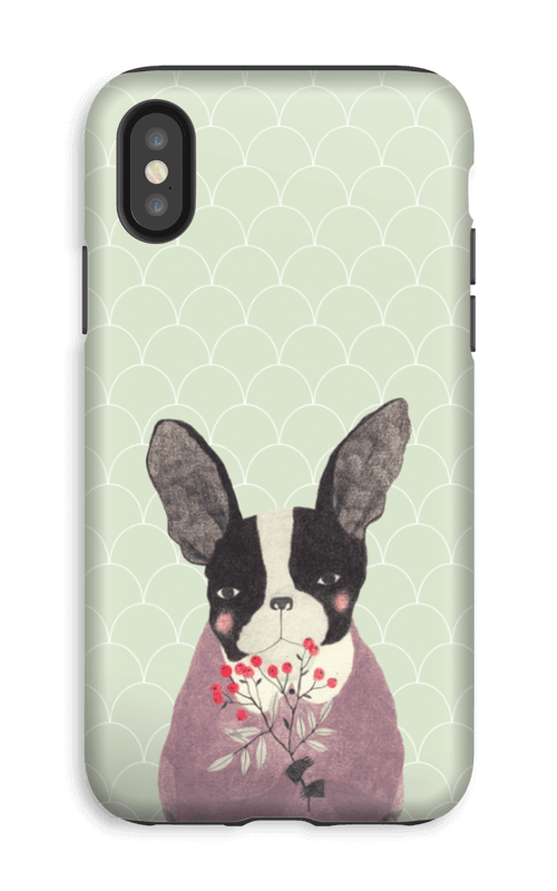 Fransk bulldog skal IPhone XS tough