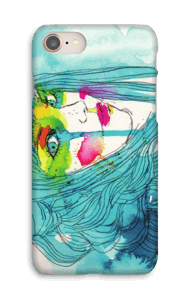 Kvinna i blått skal IPhone 8