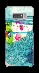 Kvinna i blått skal Galaxy Note8