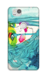 Vrouw in het blauw hoesje Pixel 2