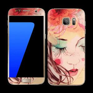 Blomster og sommerfugl Skin Galaxy S7