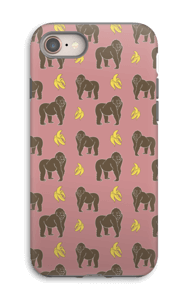 A case with bananas an monkeys in pink
