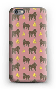 A case with monkeys and bananas in pink
