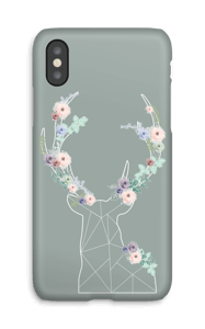Rendier met bloemenkrans hoesje IPhone X