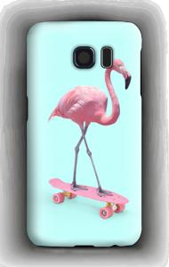 Flamingo on skateboard case Galaxy S6
